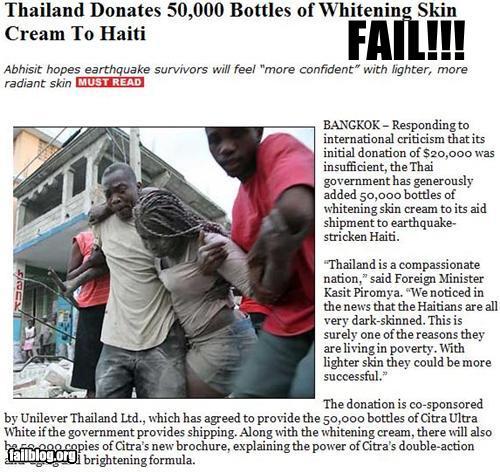 Tailandia dona cremas blanqueadoras de piel a Haití